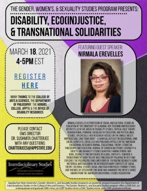 """Poster for the """"Disability, Eco(In)justice and Transnational Solidarities"""" event"""