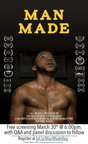 Poster for the online screening of MAN MADE