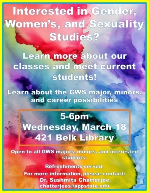 Poster for the Gender, Women's and Sexuality Studies recruitment event