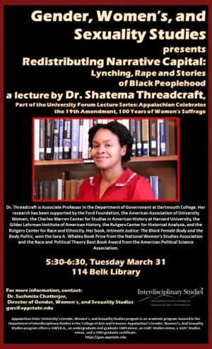 """Poster for """"Redistributing Narrative Capital: Lynching, Rape and Stories of Black Peoplehood"""" a lecture by Dr. Shatema Threadcraft"""